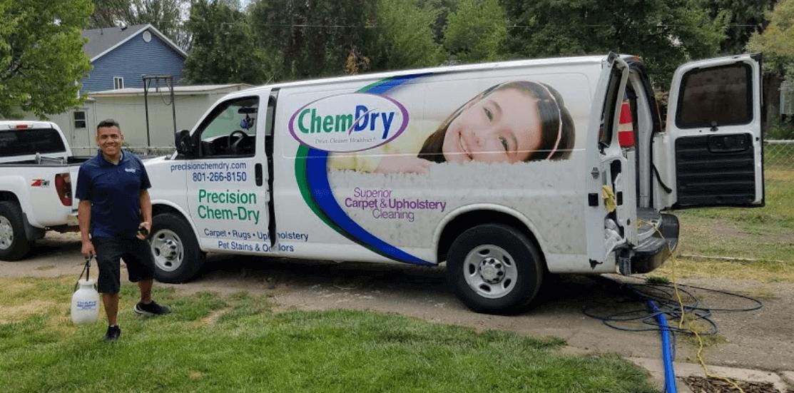 juan standing outside of chem-dry cleaning van